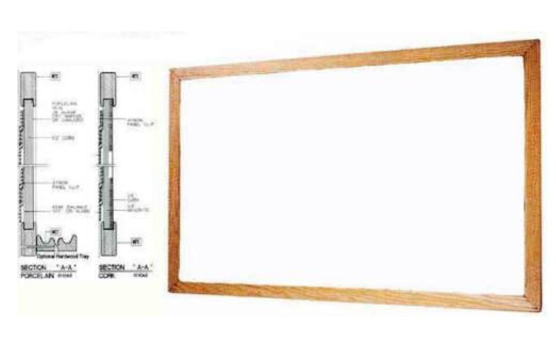 wood framed white board