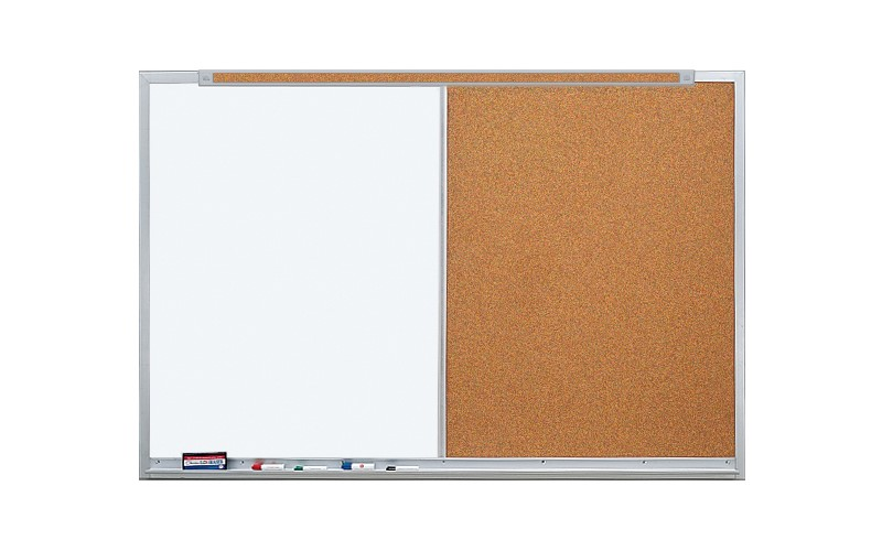 white board and cork board combination with tack strip