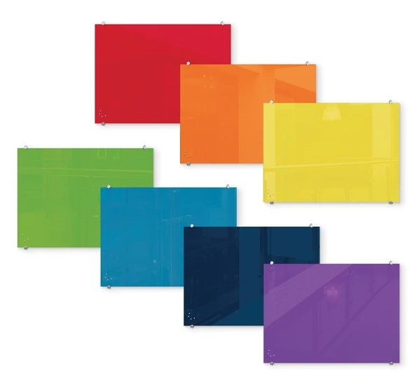 color glass marker board, red, orange, yellow, green, blue, navy, purple